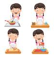 of kid at kitchen vector image