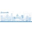 Outline Sacramento Skyline with Blue Buildings vector image vector image