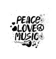 peace love music hand drawn lettering vector image vector image