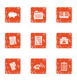 piggy bank icons set grunge style vector image vector image
