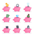 pink piggy bank set saving and investing money vector image
