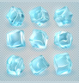 realistic 3d ice cubes isolated on transparent vector image vector image