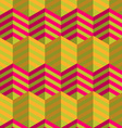 Retro fold striped hexagons touching vector image