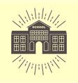 school building retro logo badge vector image vector image