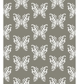 seamless background butterflies gray and white vector image
