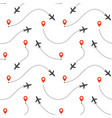 seamless pattern aircraft routes airplane vector image vector image