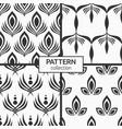 set four seamless patterns stylized peacock