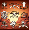 set of wild west emblems on background with vector image