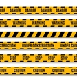 Set of yellow warning tapes vector image vector image