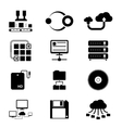Storage and Data Transfer Icons on White vector image