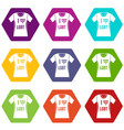 t-shirt i love lgbt icon set color hexahedron vector image vector image