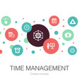 time management trendy circle template with simple vector image