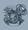 vintage clock and three roses around monochrome vector image