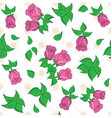 white seamless pattern with red roses vector image