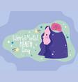 world mental health day profile woman brain vector image vector image