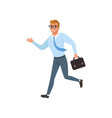 young man running in a hurry people activity vector image