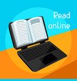 digital library concept laptop with open book e vector image