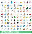 100 amusement icons set isometric 3d style vector image vector image