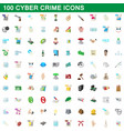100 cyber crime icons set cartoon style vector image