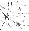 airplanes pattern planes with dotted path vector image