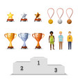 big set of winners awards with medals cups vector image