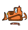 bulldozer on white background cute cartoon vector image