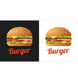burger logo for cafe shop with fastfood vector image vector image