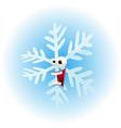 cartoon funny snowflake character vector image vector image