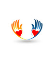charitable hands hands showing love icon vector image vector image