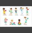 children who love to read set of vector image