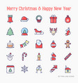 christmas and new year celebration line icons set vector image vector image