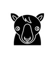 cute horse black icon sign on isolated vector image