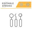 dental tools editable stroke line icon vector image vector image