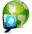 Earth with bird icon vector image