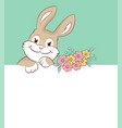 easter bunny greeting card with copy space vector image vector image