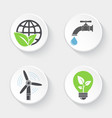 ecology icons set world and leaf windmill vector image