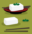 egg tofu on red plate bean curd japan style with vector image