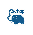 elephant with trunk in form a letter vector image