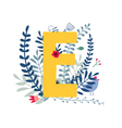 floral alphabet letter e vector image vector image