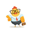 funny cartoon business chick standing with vector image