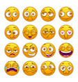 Funny comic cartoon yellow smiley faces set