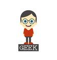 geek boy cartoon vector image