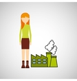 girl concept ecological factory vector image