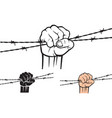 hand holding barb wire vector image