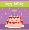happy birthday card with sweet cake and candles vector image