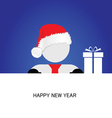 happy new year with snowman blue vector image vector image