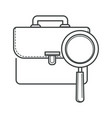job hunting symbol magnifying glass and portfolio vector image
