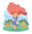 jumping happy woman grass nature landscape vector image