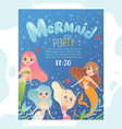 mermaid party invitation design template invite vector image vector image