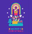 merry christmas abstract folk winter church card vector image vector image